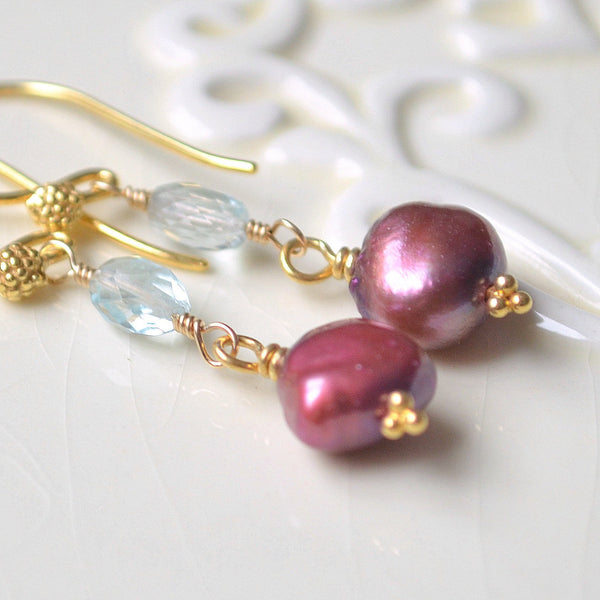 Aquamarine Earrings with Burgundy Freshwater Pearl