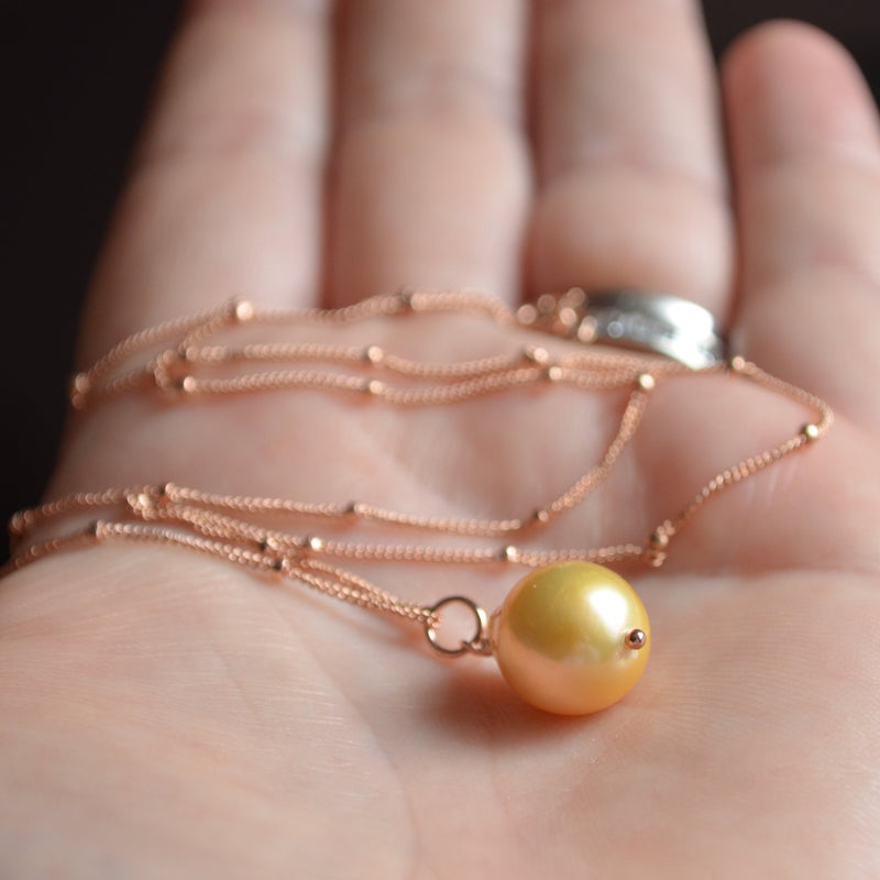 Soft Yellow Pearl Necklace