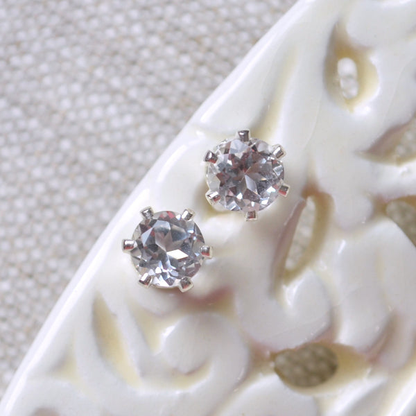 Genuine White Topaz Stud Earrings
