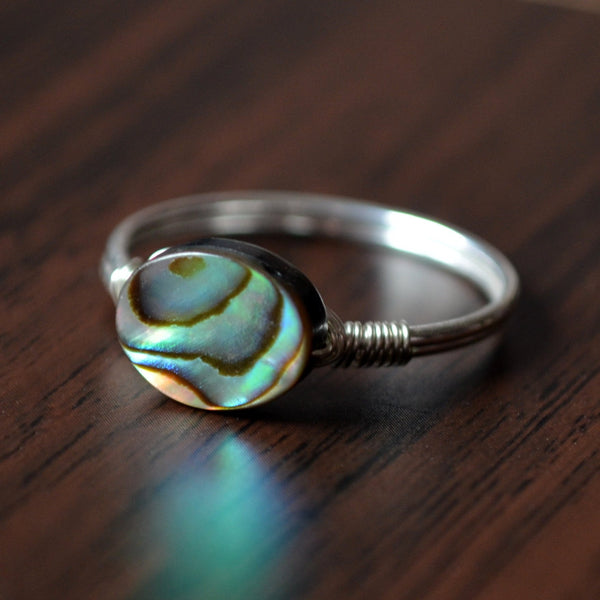 Abalone Ring, Sterling Silver Band, with a Paua Shell