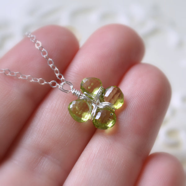 Four Leaf Clover Necklace with Genuine Peridots