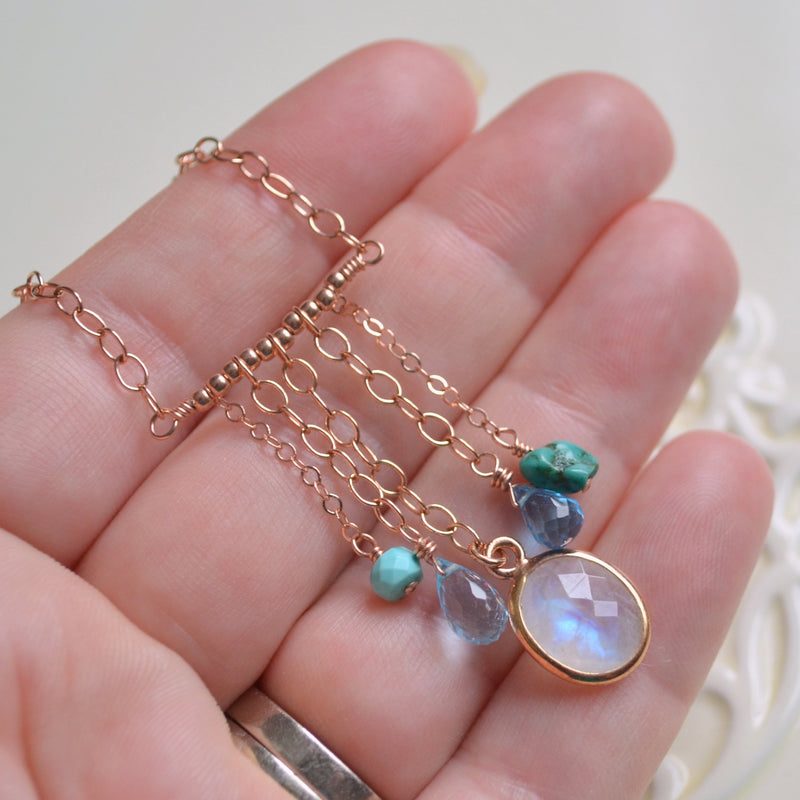 Boho Necklace with Rainbow Moonstone and Real Turquoise