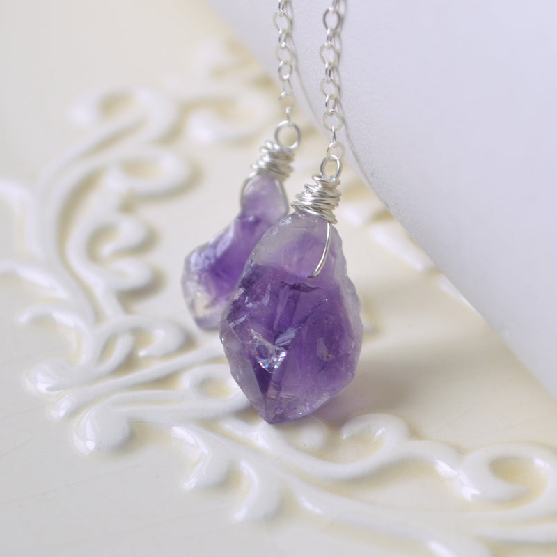 Raw Amethyst Lariat Necklace