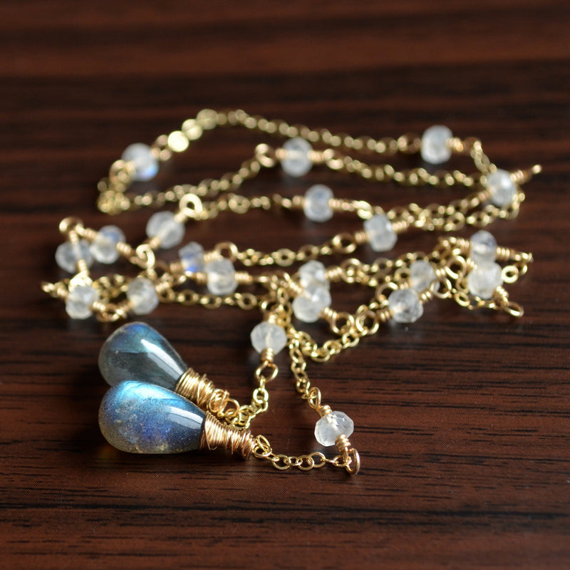 Lariat Necklace with Rainbow Moonstone and Labradorite
