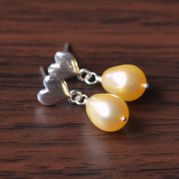 Yellow Pearl Dangle Earrings for Girls