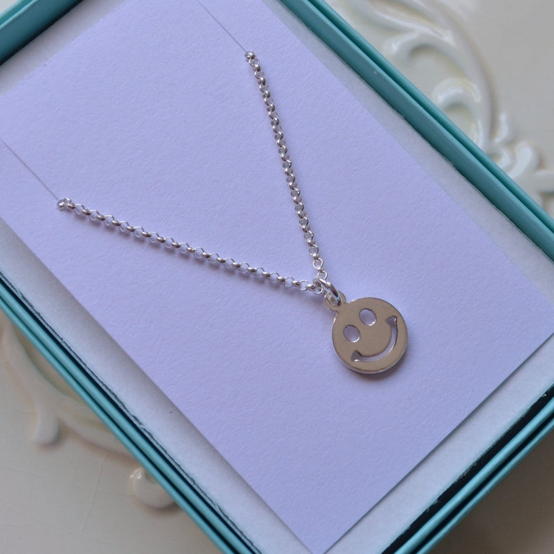 Happy Face Necklace in Sterling Silver