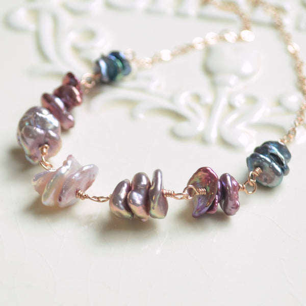 Keishi Pearl Necklace in Pink Lavender Plum and Indigo Blue