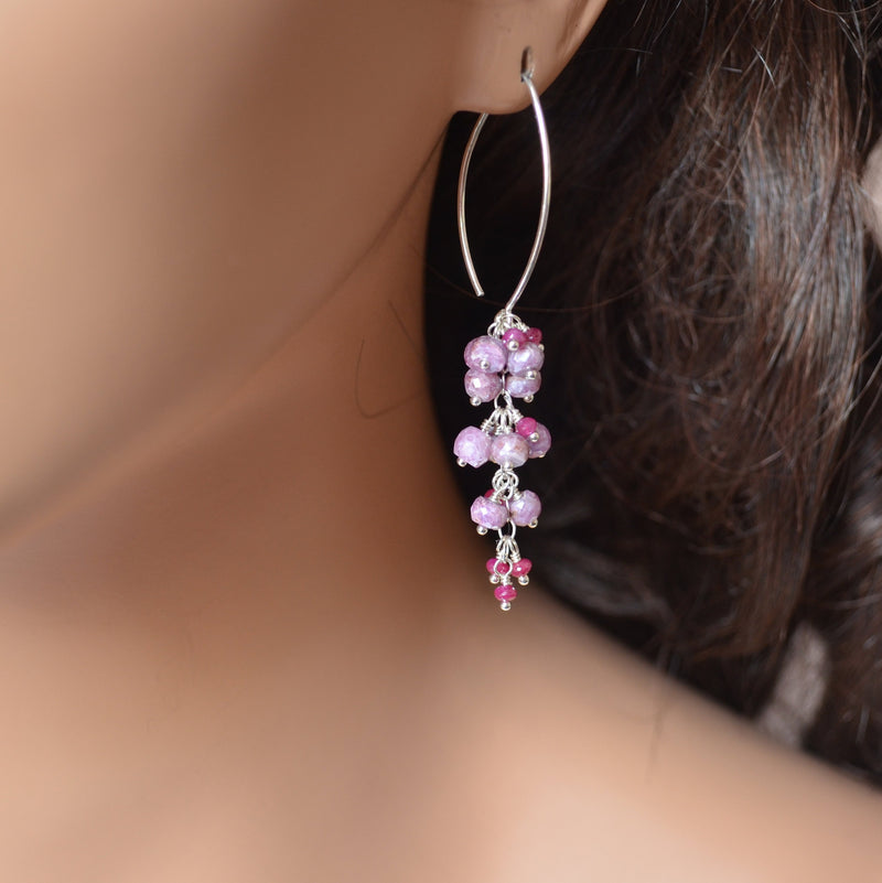 Real Ruby Jewelry, Waterfall Earrings