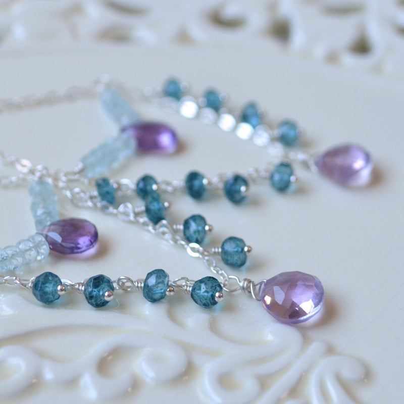 Long Silver Chandelier Earrings with London Blue Topaz and Amethyst