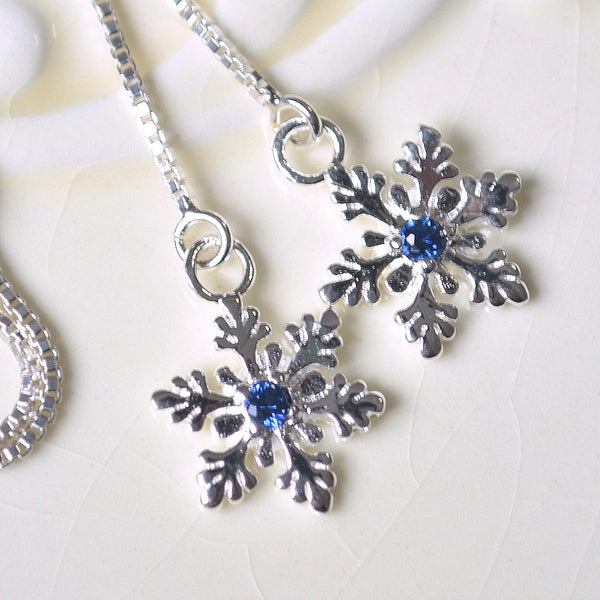 Snowflake Threader Earrings with Lab Sapphires