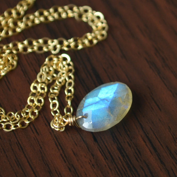 Labradorite Necklace and Faceted Oval Pendant