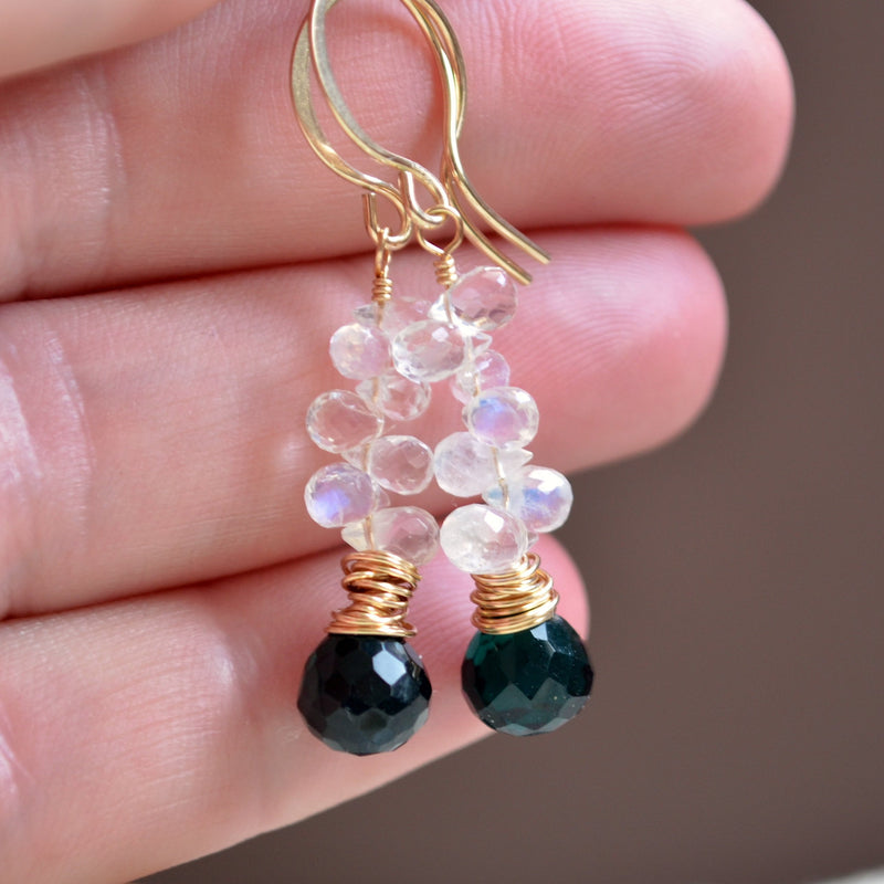 White Moonstone Earrings with Dark Teal Quartz