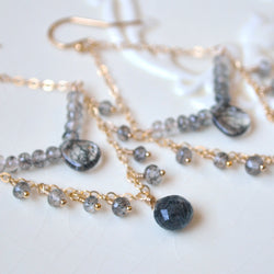 Chandelier Earrings with  Black Rutilated Quartz