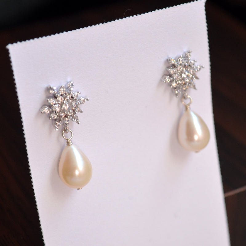 Real Pearl Wedding Earrings with Sparkly Snowflake Posts - Snowdrops