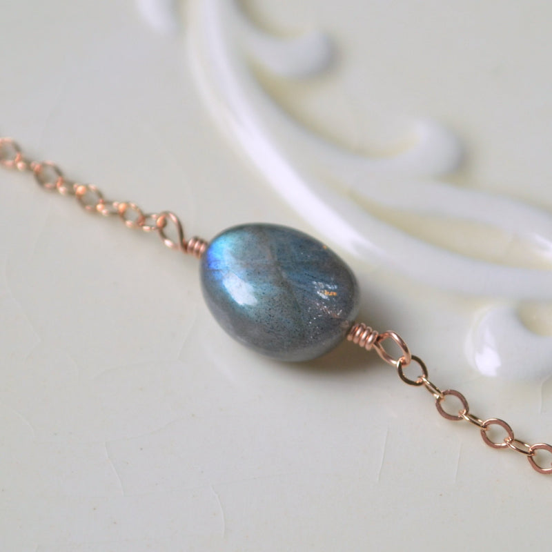 Rose Gold Labradorite Choker, Gemstone Necklace