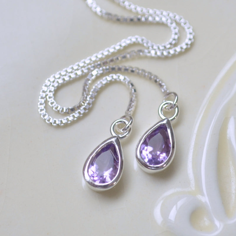 Real Amethyst Threader Earrings in Sterling Silver