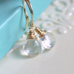 Crystal Quartz Drop Earrings with Semiprecious Stones