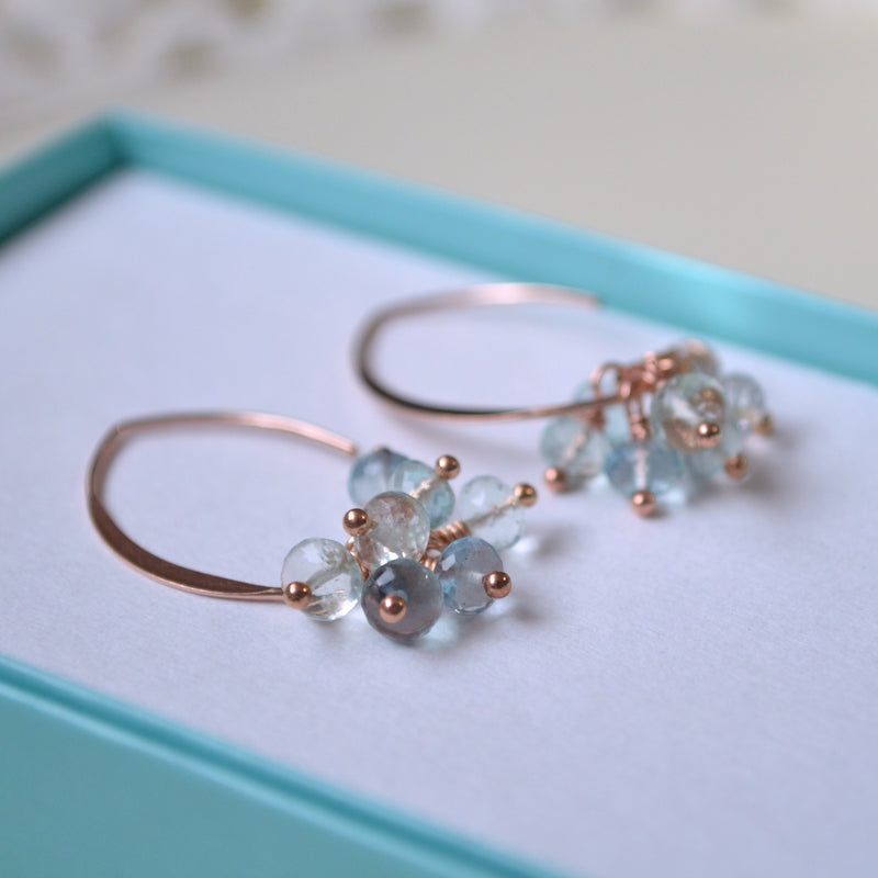 Aqua Fluorite Gemstone Earrings in Rose Gold
