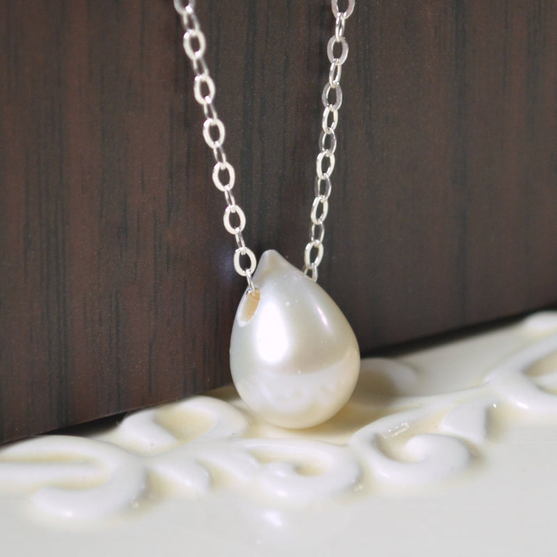 White Teardrop Floating Pearl Necklace