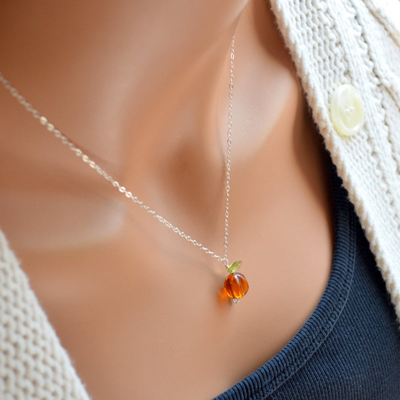 Halloween Jewelry, Orange Pumpkin Necklace