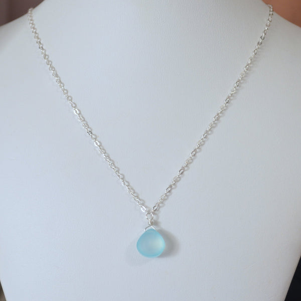 Aqua Blue Gemstone Necklace for Child in Sterling Silver