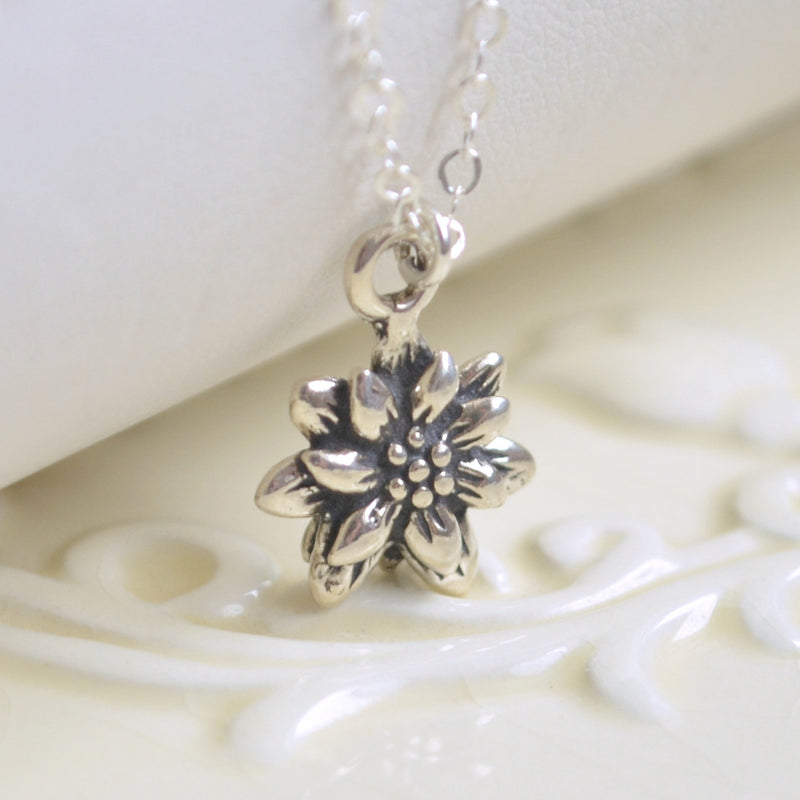 Poinsettia Necklace in Sterling Silver for Girls