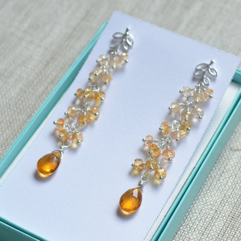 Long Cluster Earrings with Orange and Yellow Quartz Gemstones