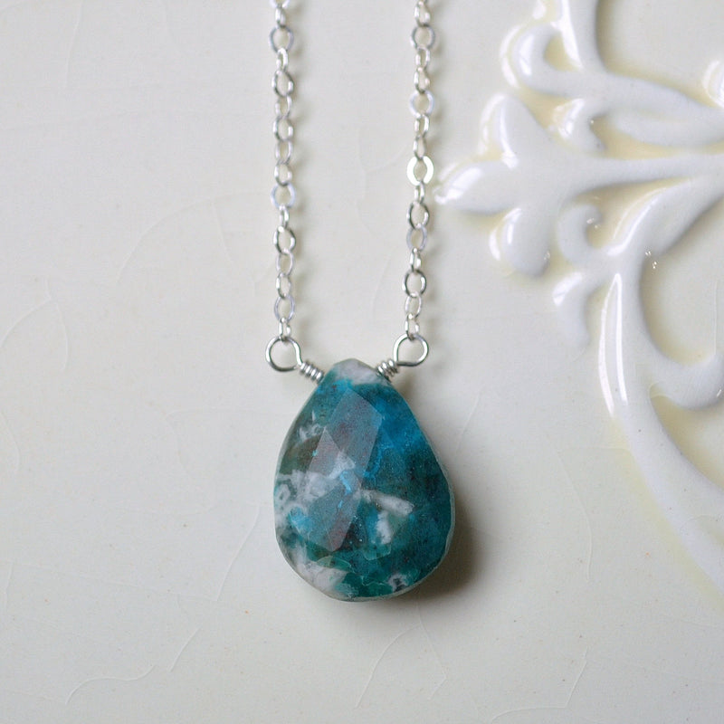 Gemstone Necklace with Chrysocolla and a Large Turquoise Pendant
