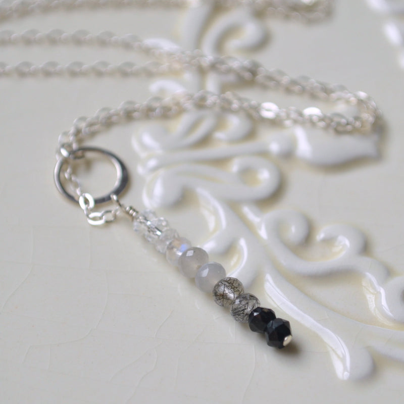 Simple Lariat Necklace, Grey and Black Gemstones