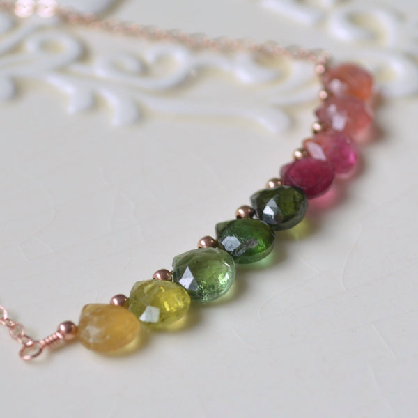 Tourmaline Necklace, Yellow Green and Pink Gemstones