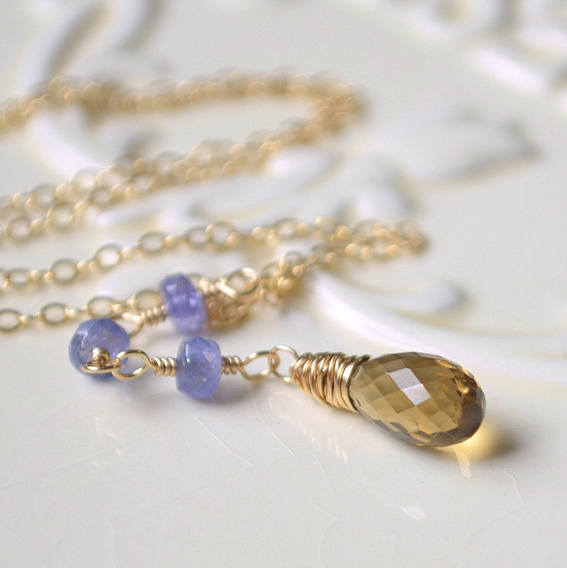 Beer Quartz and Tanzanite Necklace