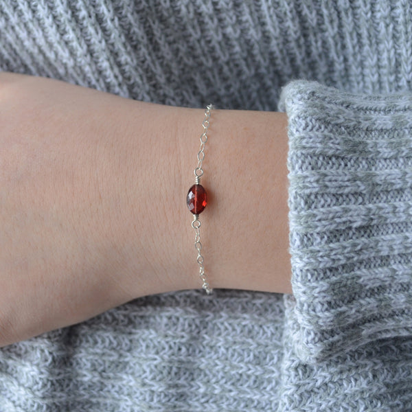 Genuine Garnet Bracelet for Tweens and Teens