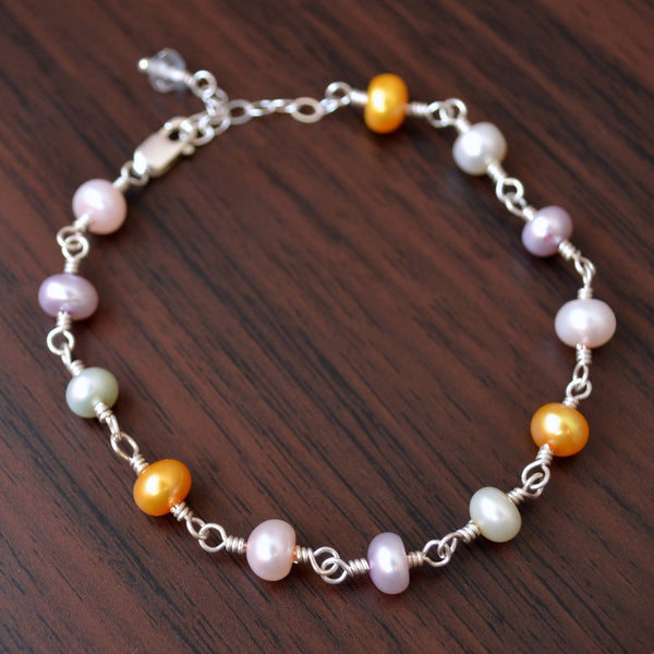Pastel Pearl Bracelet, Easter Gift for Girls, Button Freshwater Pearls, Multicolor, Wire Wrapped, Sterling Silver Jewelry