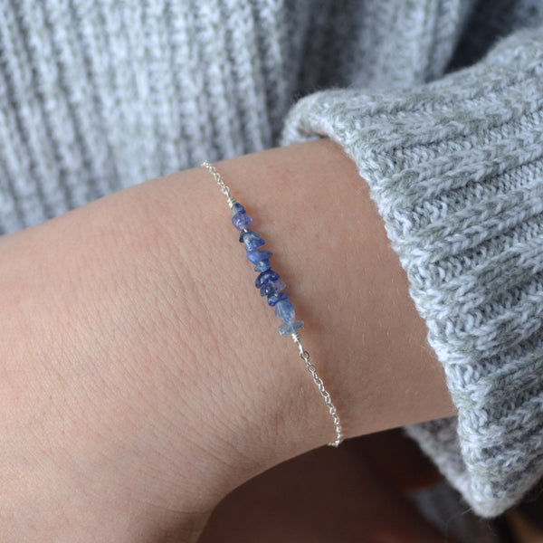 Raw Blue Sapphire Bracelet for Teens
