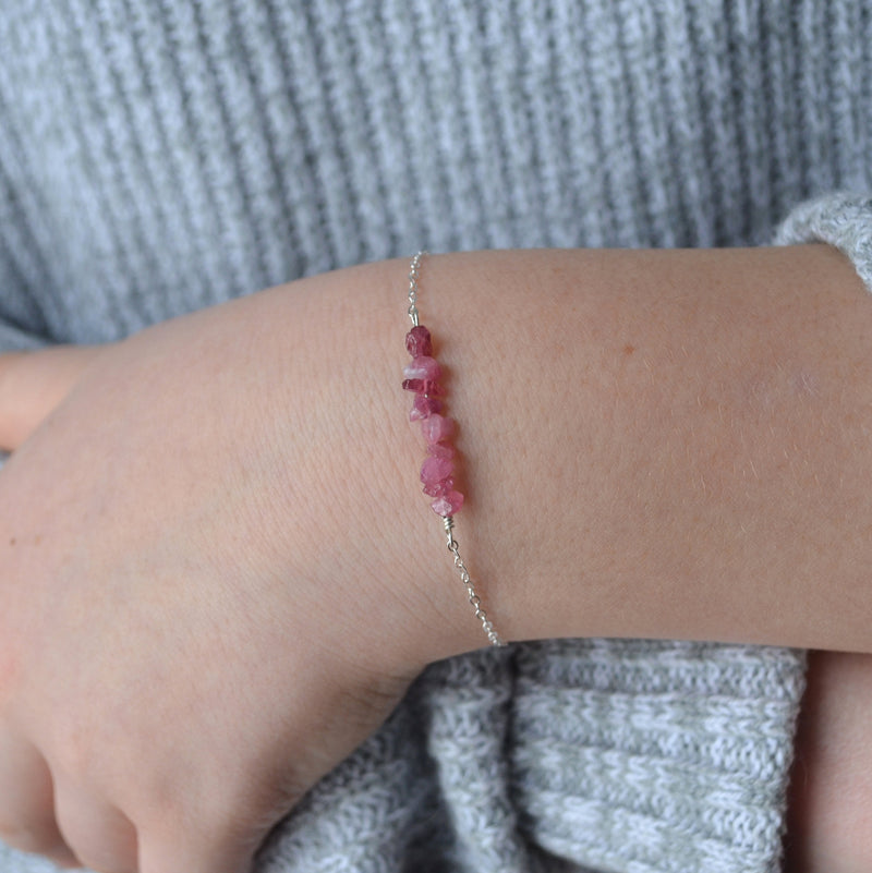 Raw Pink Sapphire Bracelet for Teens