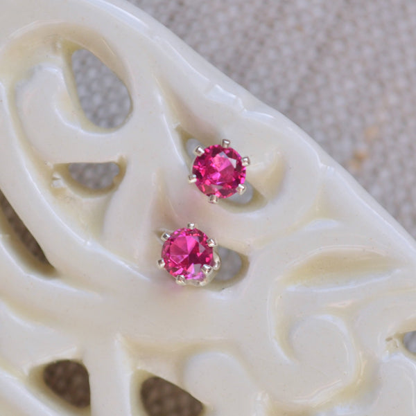 Ruby Stud Earrings with Lab-Created Stones