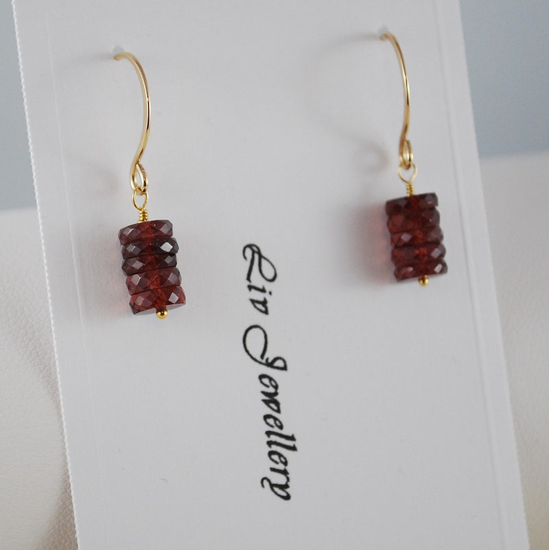 Real Garnet Earrings, Stacked Gemstone Discs