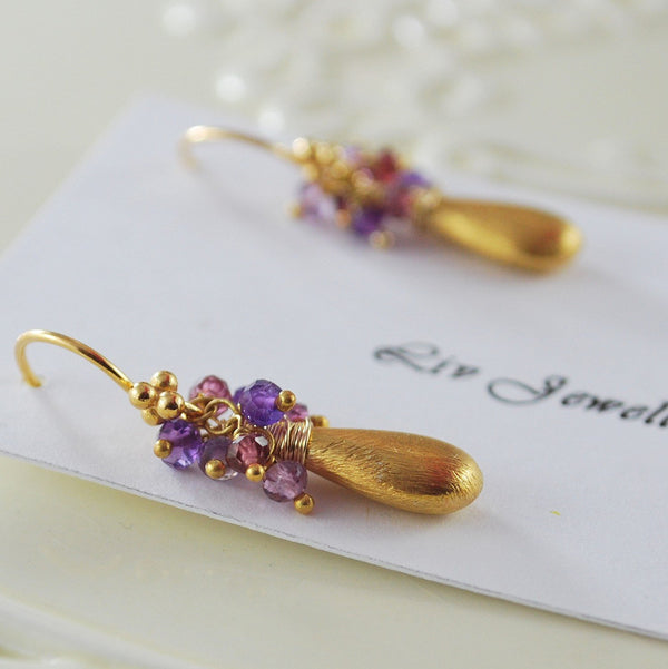 Gold Earrings with Rhodolite Garnet and Amethyst