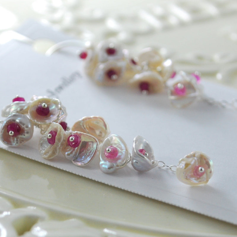 Genuine Pearl and Ruby Earrings