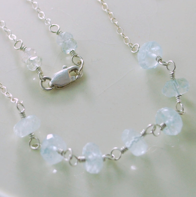 Pale Aquamarine Necklace and Genuine Ice Blue Gemstone