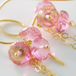 Gemstone Earrings with  Rose Pink Topaz and Semiprecious Stones