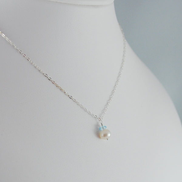 Blue Topaz and Pearl Necklace for Child in Sterling Silver