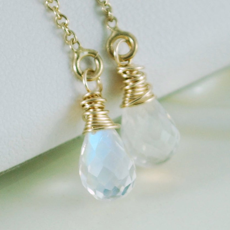 Rainbow Moonstone Threader Earrings