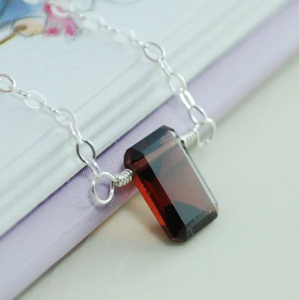 Emerald Cut Garnet Necklace for Girls