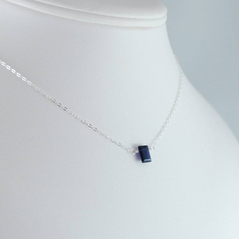 Emerald Cut Iolite Necklace in Sterling Silver