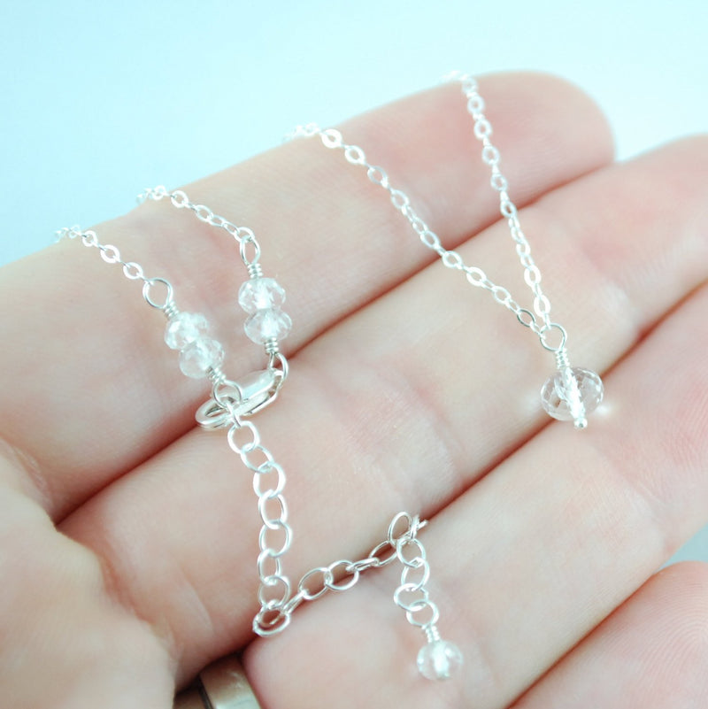 Dainty Crystal Quartz Necklace for Girls