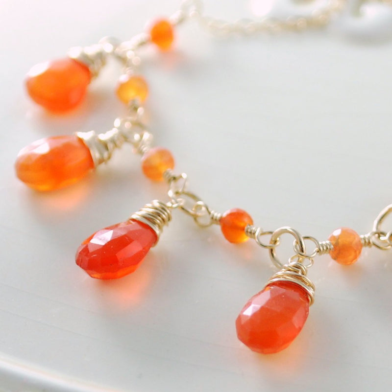 Carnelian Bib Necklace with Bright Orange Gemstones