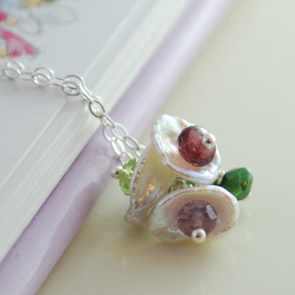 Pearl Flower Blossom Necklaces - Set of Two