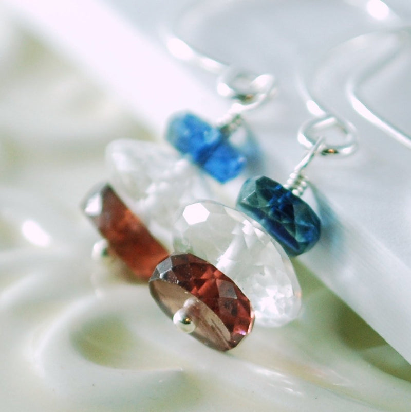 Semiprecious Stone Earrings, Kyanite Crystal Quartz Garnet Gemstone