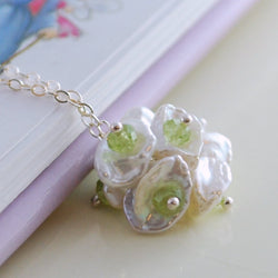 Real Peridot Necklace with Pearl Flower Blossom